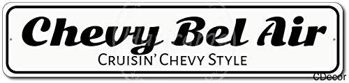 Huzkc Chevy Bel Air Vintage-Blechschild aus Aluminium und Metall, Retro-Schild, nicht rostendes Eisen, Malerei, verhindert Blendung, Kunst, personalisiertes Poster