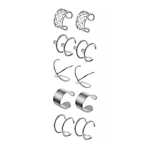 5 pares de clips para la oreja, pendientes no perforantes, puños de oreja de aro, conjunto de clips para la oreja de cartílago para hombres, mujeres, señoras, joyería para piercings falsos, fiesta