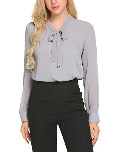 ACEVOG Damen Elegant Business Chiffonbluse Schluppenshirt T-Shirt mit Schleife V-Ausschnitt Bluse Hemd Oberteil S, Grau