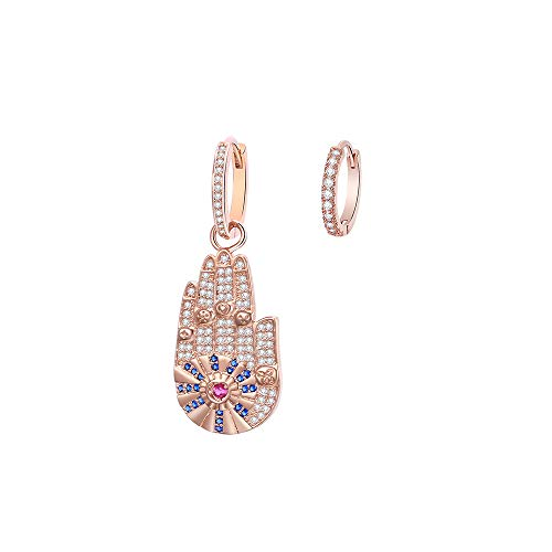 Hamsa Hand Hoop Earring for Women, Hypoallergenic Silver Plated Dangle Rose Gold Earrings with Shining Zircon Crystal Jewelry Gift for Mom, Friends