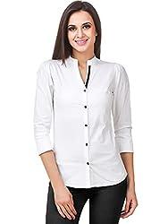 Fairiano Women 3/4th Sleeve Cotton Lycra White Formal Shirt