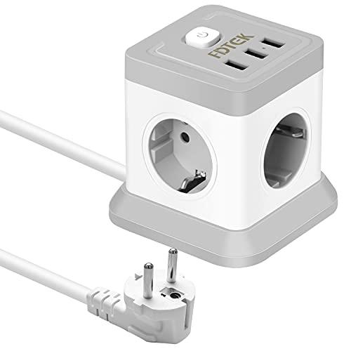 FDTEK Cube Regleta Enchufes con 4 Tomas y 3 USB Puertos,Ladron Enchufe USB Multiple con Interruptor y Proteccion Sobretension,Cable de 1,8 m,Adecuado para Casa y Oficina,Balnco(2500W/10A)
