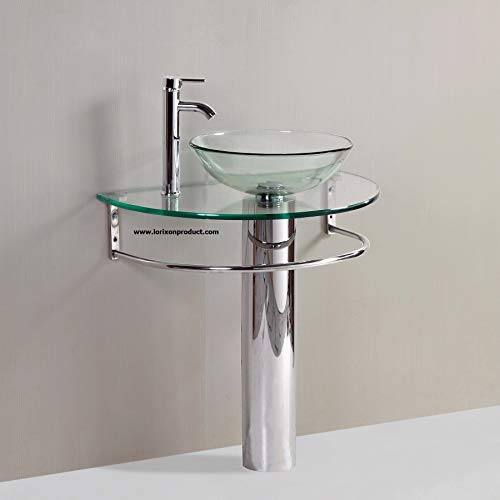 Lorixon LV006-30' Bathroom Pedestal Vanity Glass Vessel Sink Set