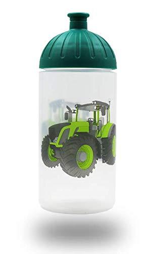 ISYbe Original Marken-Trink-Flasche für Klein-Kinder, 500 ml, BPA-frei, Traktor-Motiv für Jungen, für Schule-Reisen-Kita-Kiga-Outdoor geeignet, Auslaufsicher auch mit Sprudel, Spülmaschine-fest