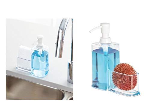iDesign Dispensador líquido con estropajero, Organizador de Fregadero de plástico, dosificador de jabón con Porta estropajos, Transparente, 16,5 cm x 7,9 cm x 21,0 cm