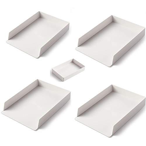 レターケース デスクトレー A4ケース ホワイト ヨコ置き 書類トレー 書類ケース 小物整理収納 引き出しレタートレイ ブックなど収納 プラスチック 積み重ね 頑丈 (白, A4レターケース4個+小さい収納ボックス1個)