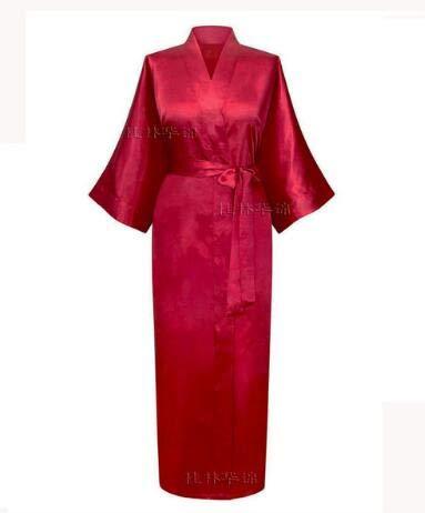 IAMZHL Mujeres Satén de Seda Largo Boda Novia Dama de Honor Bata Kimono Bata Feminino Bata de baño Tamaño Grande XXXL Peignoir Femme Albornoz Sexy-Wine red-3-XL
