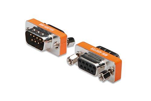 DIGITUS D-Sub 9 Null-Modem Adapter - 9-Pin Kupplung - Stecker zu Buchse - Gender-Changer - Metallgehäuse