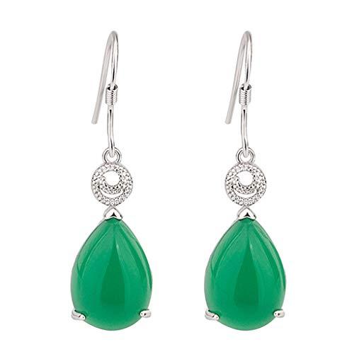 Jingmeizi Jewelry - Pendientes de piedras preciosas en forma de gota de agua para mujer, color esmeralda rubí