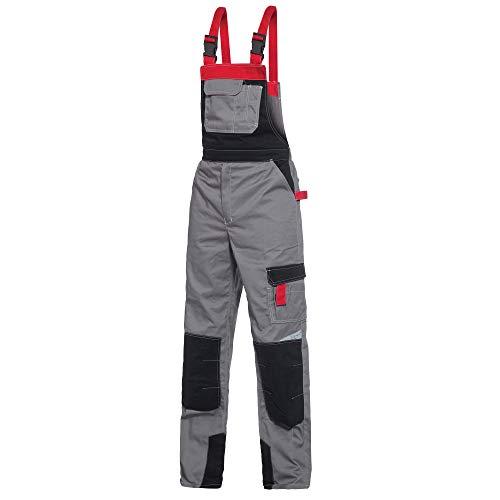 BWOLF Techno Latzhose Herren Arbeitshose Schutz-Latzhose Herren/Damen mit Reflektierenden Elementen in Grau/Rot/Schwarz (XL)