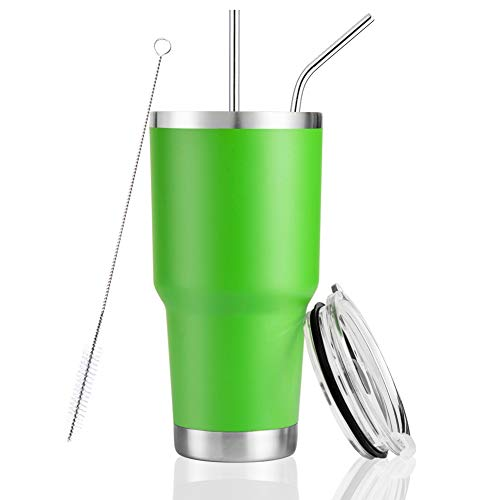 Joyclub 30oz Tumbler Stainless Steel Double Wall Vacuum Insulated Tumbler Travel Mug with Straw and Lid, Cleaning Brush for Cold and Hot Drinks (Lime Green)
