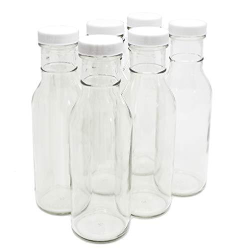 Clear Glass Beverage/Sauce Bottles, 12 Oz - Pack of 6