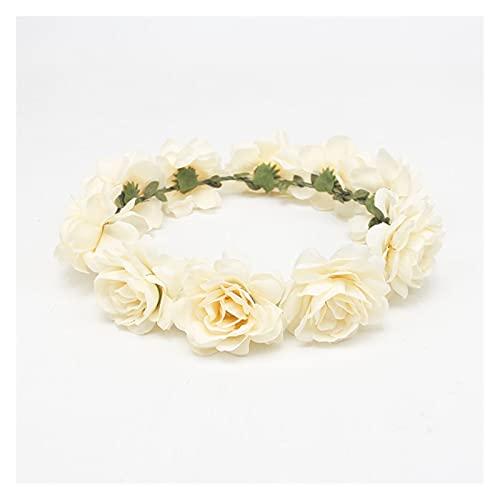 tocado de corona de flores 1 unids novia tocado mujer guirnalda rosa...