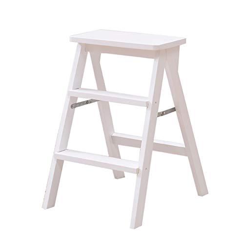 Steg trappstegar trästege pall multifunktion hopfällbar kökssteg bibliotek kontor 3 steg mini stege (3 färger) (färg: vit)