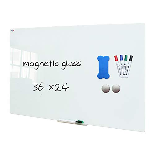 XIWODE Magnetic Glass Dry Erase Board, 24 x 18 Inch, Wall Mounted Tempered Glass Whiteboard, Frameless, White Frosted Surface