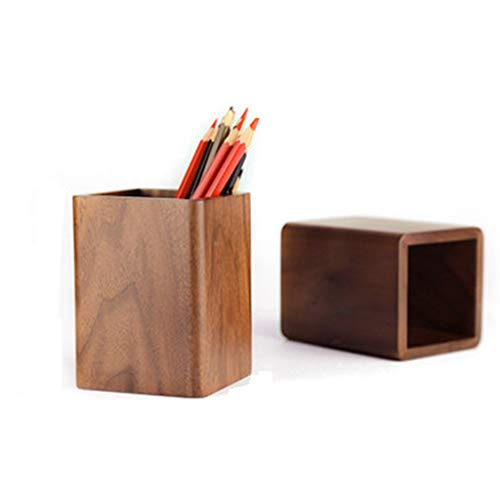 Stifthalter Massivholz Creative Business Study Walnut Platz Penholder Log Desktop-Aufbewahrung Box (Size : Regular Pen Holder)