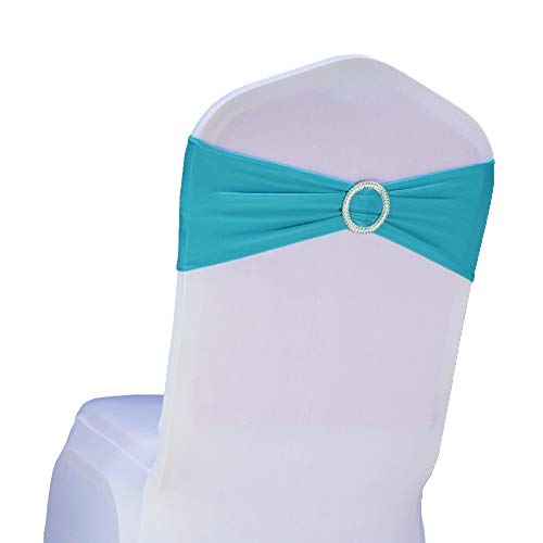 SINSSOWL Pack 50PCS Elastic Slider Chair Sashes Spandex Chair Cover Band Bows Wedding Decoration-Turquoise