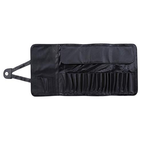 Pinhan Professional 24-TLG. Make-up Pinsel Organizer Tasche Eleganter, weicher Kosmetikpinsel-Etui aus Kunstleder mit Knopfverschluss, schwarz
