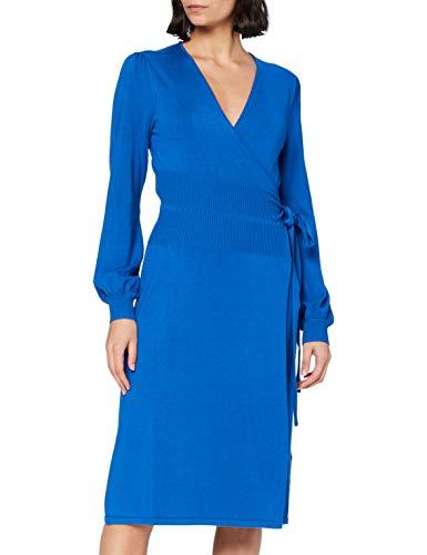 Noa Noa Damen Viscose Knit Dress Long Sleeve,Below Knee Lässiges Kleid, Baleine Blau, XXL