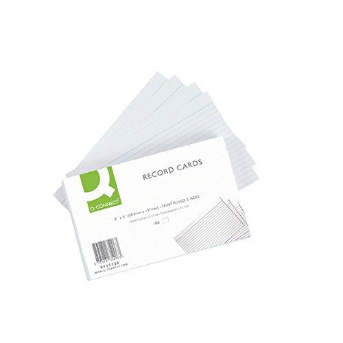 Q-Connect Tabliczka w linie Feint w kształcie kreski, 20 x 12 cm - biała, opakowanie 100 sztuk