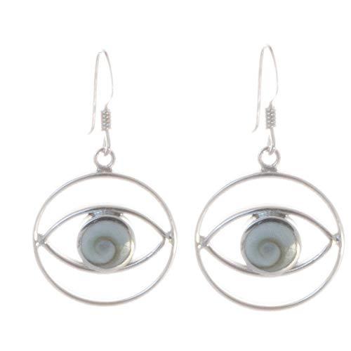 Muschel Schmuck (Ohrringe) Muschel Kreiselschnecke Operculum Shiva Eye Ohrhänger 925er Sterling-Silber Modellnummer 1154