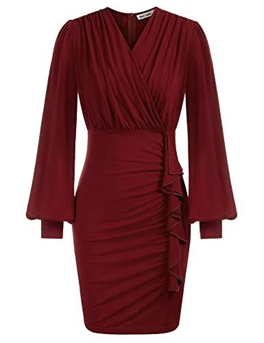 GRACE KARIN Vestido para Mujer Sexy Cintura Alta de Tubo de Moda Falda Vestido Otoño Primavera Invierno Rojo S