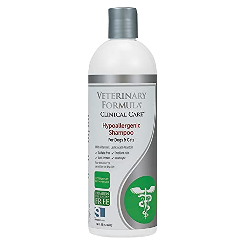 Veterinary Formula Clinical Care Hypoallergenic Shampoo for Dogs and Cats, 16 oz – No Harsh Ingredients – Pet Shampoo for Allergies and Sensitive Skin, Promotes Healthy Skin and Coat