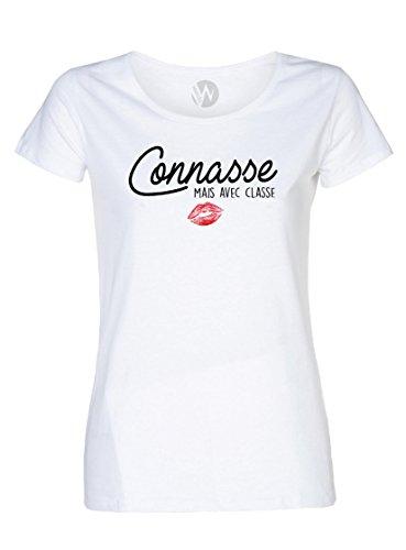 KSS KSS KSS Femme Top T-Shirt Message Humour Connasse mais avec de la Classe (XS)