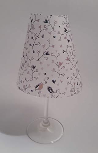 5 Tischlichter Lampenschirme für Weinglas Zuschnitte Herzchen Ranke