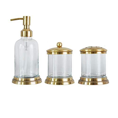 Soap Dispensers Brass Glass Soap Dispenser Bathroom Set, Lotion Bottle Storage Box Toothbrush Holder ,3-Piece Set Soap Dispenser Kit