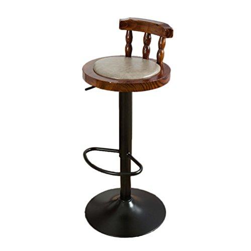 Crazy stool ZWD Retro IJzeren barkruk, draaistoel Coffee Shop Hocker Barkruk restaurant hoge stoel hefstoel houten rugleuning stoel zithoogte 60-80 cm kruk en stoelen