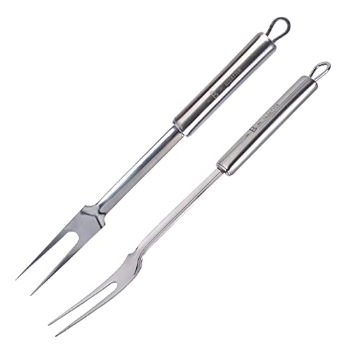 Begatter Meat Carving Fork, 13.3 Inch Stainless Steel Kitchen Fork Utensil for Cooking and Serving, 2 Pieces