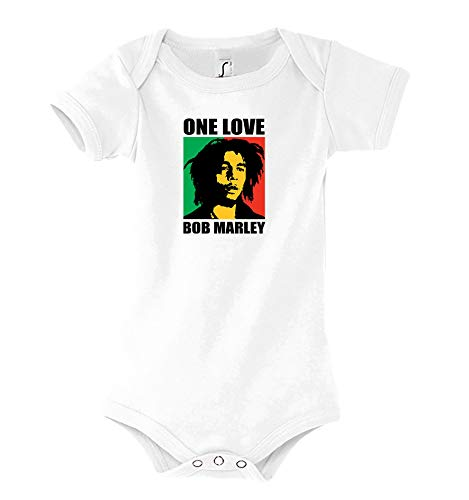 Youth Designz Baby Kurzarm Body Strampler Modell One Love - Weiß 3-6 Monate