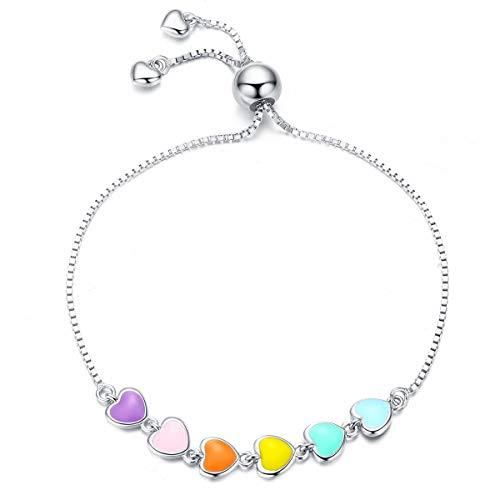 NewL - Pulsera de plata de ley 925 con diseño de corazón esmaltado en color arcoíris para mujer, joyería antialérgica