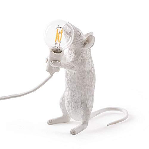 Lámpara de mesa Lámpara de mesa con forma de ratón, lámpara de mesa de resina, iluminación junto a la cama, decoración de la habitación del hogar (color:acostarse, tama?o:blanco / Reino Unido)