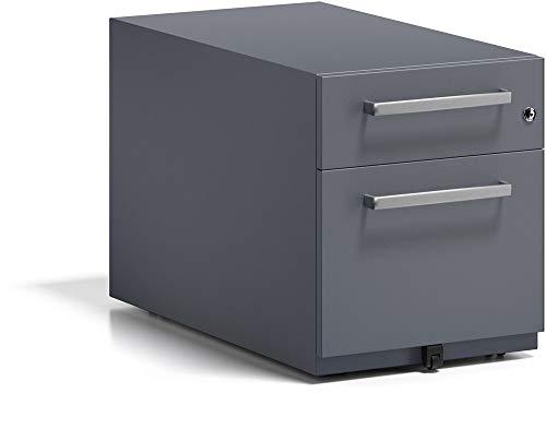 BISLEY Rollcontainer Note mit Griff, 1 Universalschublade, 1 HR-Schublade, Metall, 634 Anthrazitgrau, 77.5 x 42 x 49.5 cm