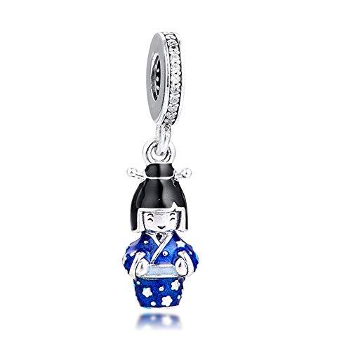 BAKCCI 2020 Japanische Puppe in blauem Kimono, baumelnde Perle, 925er Silber, für Original-Pandora-Armbänder