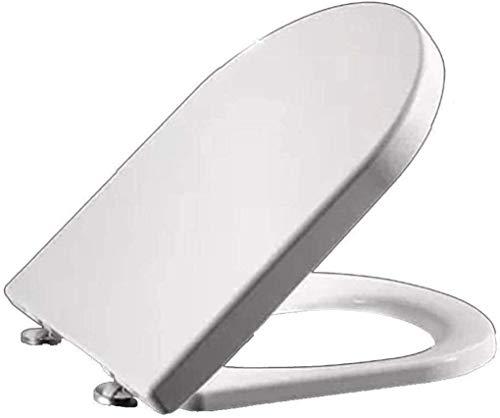 Con asiento del inodoro Junta PP antibacteriana lento hacia abajo Mute Ultra resistente fácil de limpiar montada sobre la tapa del inodoro for U Forma de asiento de inodoro, White-45 ~ 47cm * 36cm
