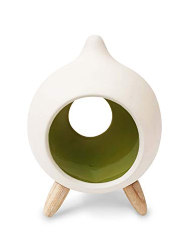 Miaromi Unglazed Decorative Ceramic Tear Drop Design Tea Light Candle Holder, Unique and Modern Look-Ideal Gift for Weddings, Party Favor, Reki, Meditation (Green)