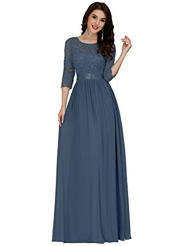 Ever-Pretty 3/4 Sleeve Lace Wedding Dress for Bride Evening Party Dress for Women Dusty Blue US26