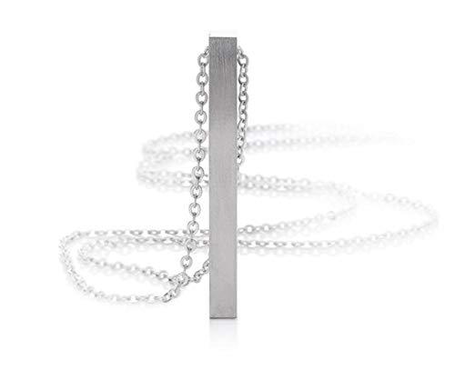 Silvity Personalisierte Gravur-Halskette Edelstahl Namenskette 50cm Wunschgravur inkl. Geschenkbox (Silber)