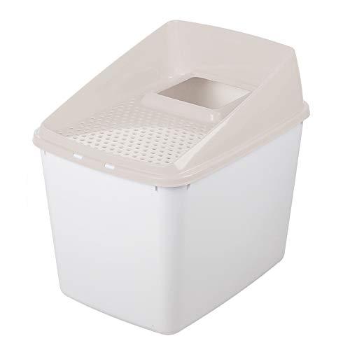 HEISHOP Desodorante Exterior Desmontable para Salpicaduras Cat Cat Litter Box Muy Grande, Completamente Cerrado, con Arena para Gatos, Beige, XL