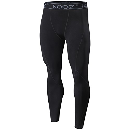 Nooz Herren Quick Dry Powerflex Compression Baselayer Pants Legging Tights für Männer - Schwarz - Mittel