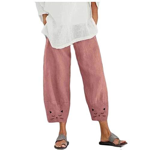 YWLINK Damen Vintage Loose Elastisch Taille Hosen Freizeit Atmungsaktiv Wide-Leg Haremshosen (3XL, Rosa)