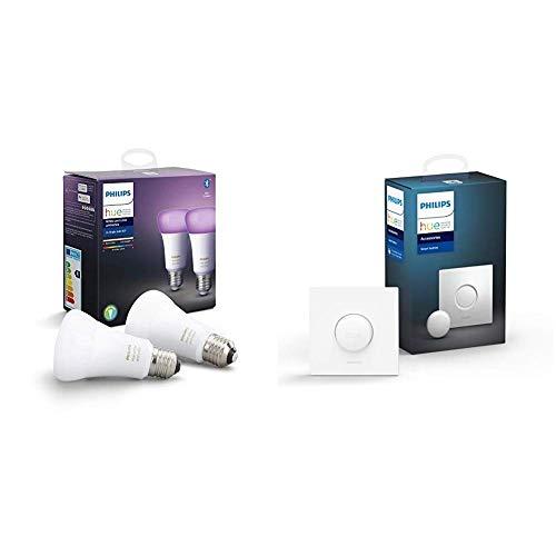 Philips Hue White and Color Ambiance - Paquete de 2 bombillas LED inteligentes E27, luz blanca y de colores, compatible con Bluetooth y Zigbee + Botón/Interruptor Smart Button
