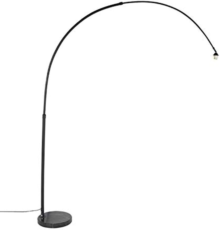 QAZQA Moderne Bogenlampe XXL schwarz mit Marmorsockel Innenbeleuchtung Stahl Lnglich LED geeignet E27 Max. 1 x 60 Watt