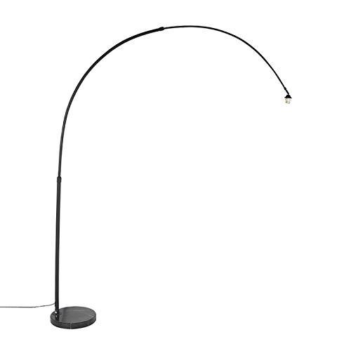 QAZQA Moderne Bogenlampe XXL schwarz mit Marmorsockel/Innenbeleuchtung/Schlafzimmer Stahl/Marmor Länglich LED geeignet E27 Max. 1 x 60 Watt