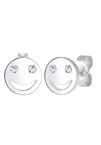 Elli Ohrringe Damen Smiley Face Emoji Stecker mit Kristalle in 925 Sterling Silber
