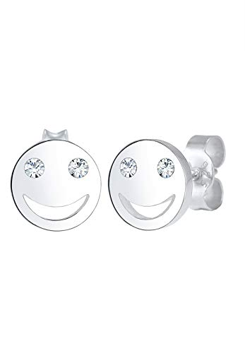 Elli Ohrringe Damen Smiley Face Emoji Stecker mit Swarovski® Kristalle in 925 Sterling Silber