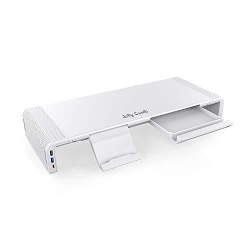 Bildschirmständer mit Hub, Jelly Comb Einstellbarer Monitorständer mit USB 3.0 und USB C Anschluss, Faltbare Monitorerhöhung für Computer, Laptop, TV, Drucker, mit 12V / 2A Stromadapter, Weiß